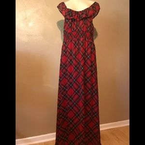 Missimo red plaid maxi dress size XL polyester